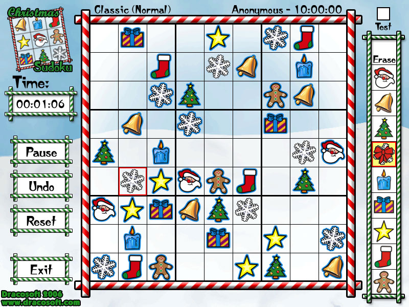Dracosoft?s Christmas Sudoku is a great iconic twist on the standard Sudoku.